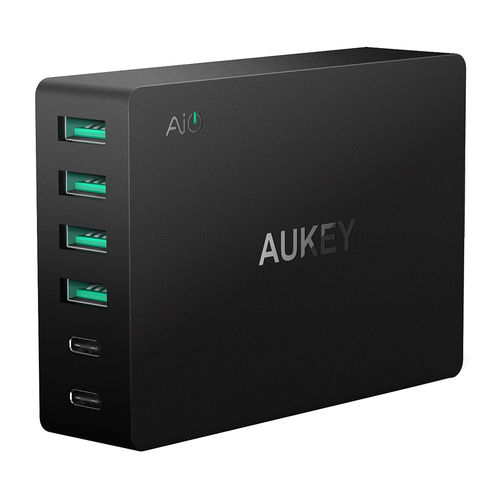 Aukey PA-Y6 (60W) 6-Port USB + Type-C Wall Charger (Quick Charge 3.0)